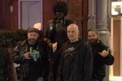 Posing with our hero, Phil Lynott of Thin Lizzy outside Bruxelles Pub, Dublin