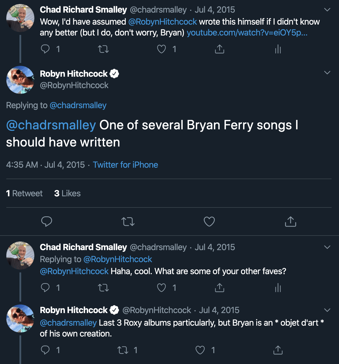 Chad's Twitter conversation with Robyn Hitchcock, July 2015