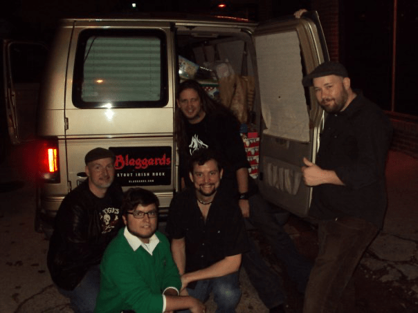 Blaggards hauling a load of presents after Rock the Shelter XXII, December 2009 (Photo by Mari Devlin)